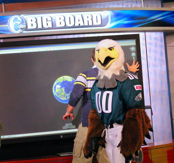 Swoop got caught with his feather on the Action News Big Board!