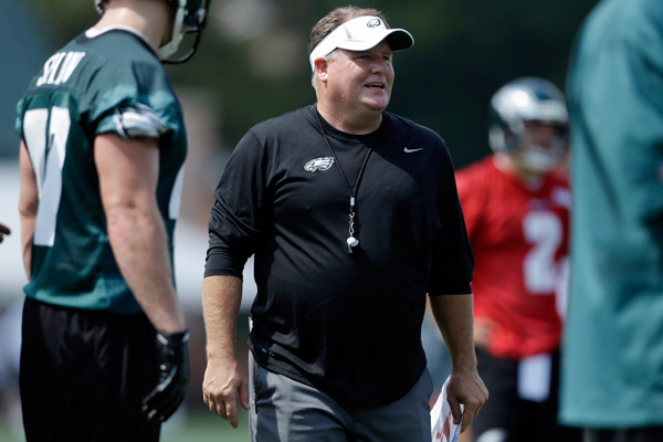 Philadelphia Eagles head coach Chip Kelly directs his players during NFL football training camp in Philadelphia, Tuesday, July 23, 2013. (AP Photo/Matt Rourke)