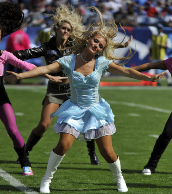 Tennessee Titans cheerleaders dressed in Halloween costumes perform in the second quarter of an NFL football game against the Philadelphia Eagles on Sunday, Oct. 24, 2010, in Nashville, Tenn.  <span class=meta>(AP Photo)</span>