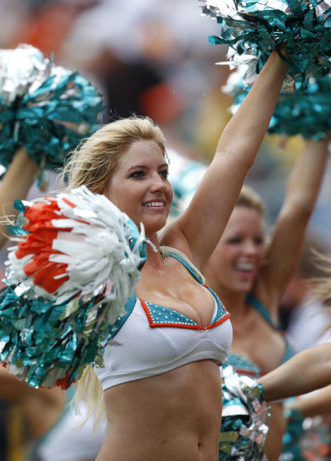 Miami Dolphins Cheerleaders are shown during the second half of an NFL football game between the Dolphins and the Pittsburgh Steelers, Sunday, Oct. 24, 2010 in Miami. The Steelers defeated the Dolphins 23-22.  <span class=meta>(AP Photo)</span>