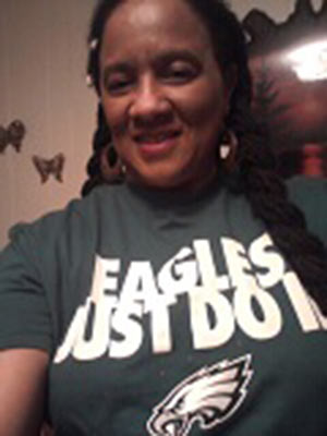 The Eagles have been winning ever since I bought and wore this shirt. The one day I did not wear it they LOST! Every time they won I had it on. Can a girl get a Jacket? I promise to wear my shirt for every game. <span class=meta>(Eagles Fan Photos - 2013 Playoffs)</span>