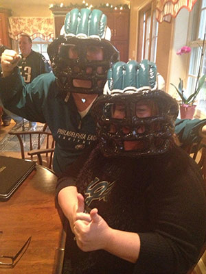 "<div class=""meta ""><span class=""caption-text "">This Lisa Woodcock and Trish Coacher, from Ardmore, say, ""Bring on the Saints!!!!"" (Eagles Fan Photos - 2013 Playoffs)</span></div>"