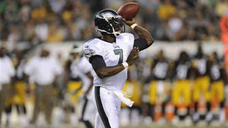 Philadelphia Eagles Michael Vick is shown during an NFL preseason football game against the Pittsburgh Steelers, Thursday, Aug. 9, 2012, in Philadelphia. The Eagles won 24-23. (AP Photo/Michael Perez)