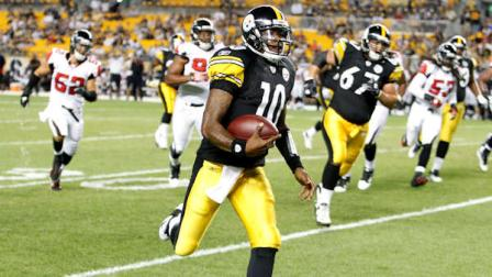 Pittsburgh Steelers quarterback Dennis Dixon (10) plays in the preseason NFL football game between the Pittsburgh Steelers and the Atlanta Falcons on Saturday, Aug. 27, 2011, in Pittsburgh. (AP Photo/Keith Srakocic)