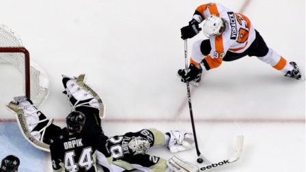 Philadelphia Flyers Jakub Voracek (93) has a third-period shot blocked by Pittsburgh Penguins goalie Marc-Andre Fleury (29) during Game 2 of an opening-round NHL hockey playoff series in Pittsburgh Friday, April 13, 2012. The Flyers won 8-5. (AP Photo/Gene J. Puskar)