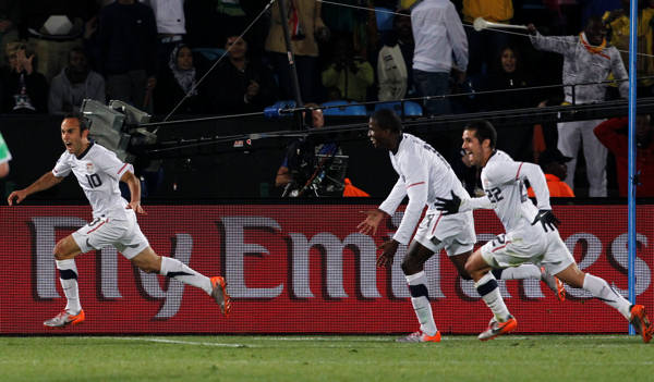 "<div class=""meta image-caption""><div class=""origin-logo origin-image ""><span></span></div><span class=""caption-text"">United States' Landon Donovan, left, celebrates after scoring a goal with fellow team members Benny Feilhaber, right, and Edson Buddle, second from right, during the World Cup group C soccer match between the United States and Algeria at the Loftus Versfeld Stadium in Pretoria, South Africa, Wednesday, June 23, 2010. (AP Photo/Bernat Armangue) (AP Photo/Bernat Armangue)</span></div>"