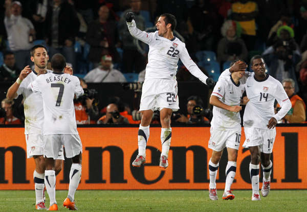 United States&#39; Landon Donovan, second from right, celebrates with teammates after scoring during the World Cup group C soccer match between the United States and Algeria at the Loftus Versfeld Stadium in Pretoria, South Africa, Wednesday, June 23, 2010. &#40;AP Photo&#47;Bernat Armangue&#41; <span class=meta>(AP Photo&#47;Bernat Armangue)</span>
