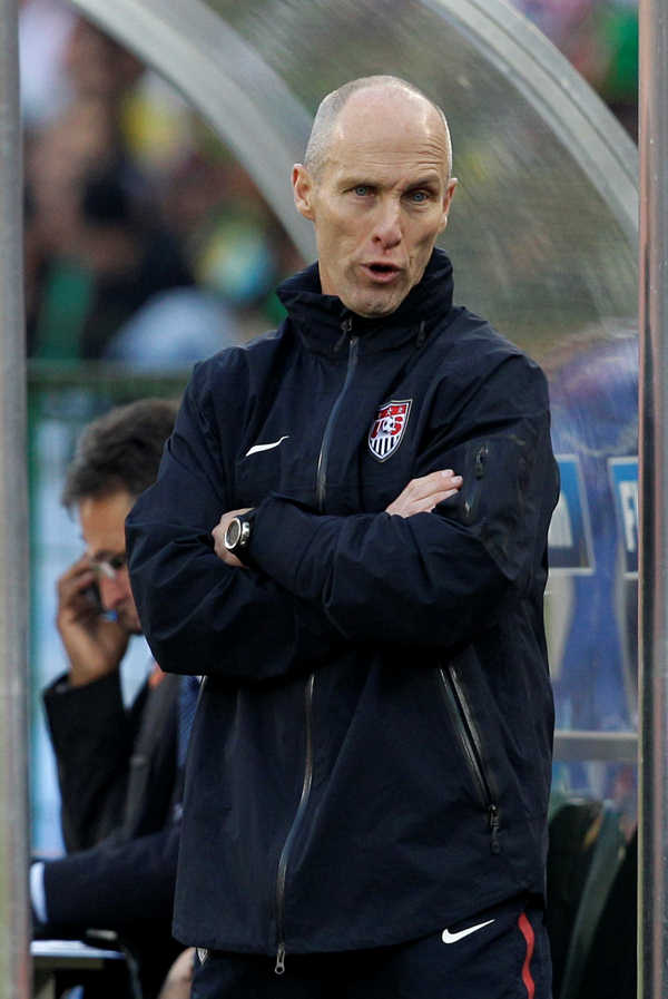 United States head coach Bob Bradley reacts during the World  Cup group C soccer match between the United States and Algeria at the Loftus Versfeld Stadium in Pretoria, South Africa, Wednesday, June 23, 2010. &#40;AP Photo&#47;Elise Amendola&#41; <span class=meta>(AP Photo&#47;Elise Amendola)</span>