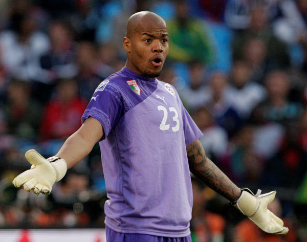 Algeria goalkeeper Rais M&#39;Bolhi reacts during the World  Cup group C soccer match between the United States and Algeria at the Loftus Versfeld Stadium in Pretoria, South Africa, Wednesday, June 23, 2010. &#40;AP Photo&#47;Yves Logghe&#41; <span class=meta>(AP Photo&#47;Yves Logghe)</span>