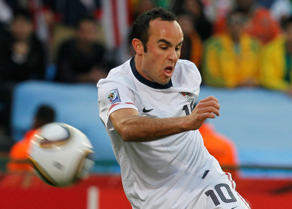 United States&#39; Landon Donovan kicks the ball during the World Cup group C soccer match between the United States and Algeria at the Loftus Versfeld Stadium in Pretoria, South Africa, Wednesday, June 23, 2010. &#40;AP Photo&#47;Eugene Hoshiko&#41; <span class=meta>(AP Photo&#47;Eugene Hoshiko)</span>