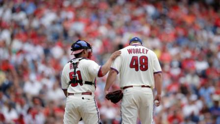 Philadelphia Phillies Vance Worley, right, and Carlos Ruiz during a baseball game against the Atlanta Braves, Sunday, July 8, 2012, in Philadelphia. (AP Photo/Matt Slocum)
