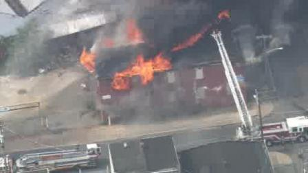 Chopper 6 HD was at the scene of a fire at an abandoned Camden tire factory on June 9, 2011.