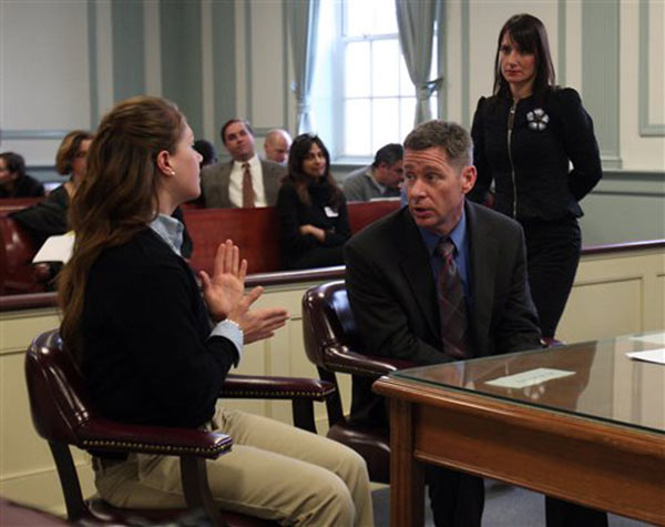 High school senior Rachel Canning, 18, left, talks with her father, Sean Canning, during a break in proceedings, in Morris County Superior Court in Morristown, N.J., Tuesday, March 4, 2014. <span class=meta>(&#40;AP Photo&#47;Daily Record, Bob Karp, Pool&#41;)</span>