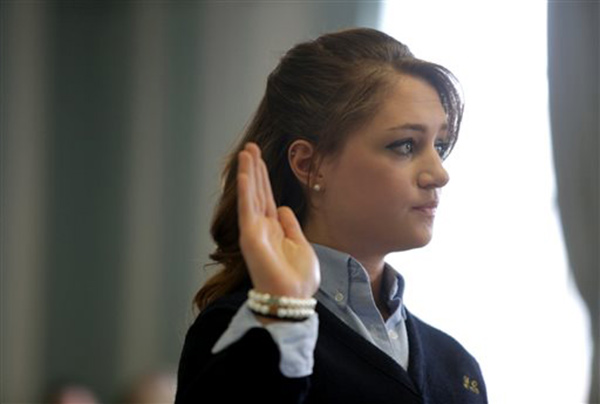 "<div class=""meta ""><span class=""caption-text "">Rachel Canning is sworn in during a hearing at the Morris County Courthouse, Tuesday, March 4, 2014, in Morristown, N.J. Canning, an honor student who says her parents kicked her out of the house when she turned 18, is now suing them, asking a court to make them support her and pay for her college.  ((AP Photo/The Star-Ledger, John O'Boyle, Pool))</span></div>"