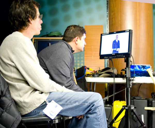 Mike and Peter watching the monitor  <span class=meta>(WPVI Photo)</span>