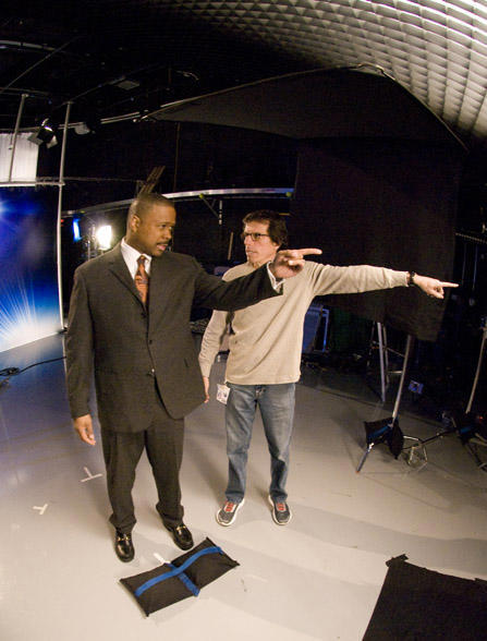 "<div class=""meta ""><span class=""caption-text "">Peter Churchman directing Action News anchor Rick Williams (WPVI Photo)</span></div>"