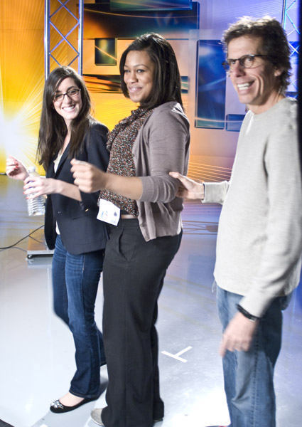 "<div class=""meta ""><span class=""caption-text "">Director Peter Churchman chatting with interns Lianna and Stacie  (WPVI Photo)</span></div>"