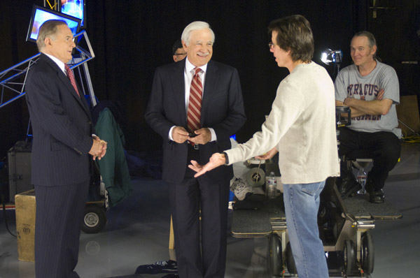 "<div class=""meta ""><span class=""caption-text "">Director Peter Churchman chatting with Jim Gardner and Rob Jennings (WPVI Photo)</span></div>"