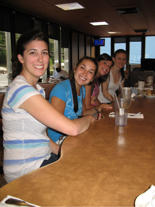 Interns Kim, Malissa, Noelle, and Meredith energize with coffee and juice before the shoot!  <span class=meta>(WPVI Photo)</span>
