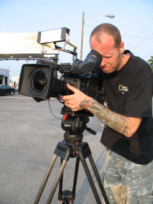 Jr Campbell takes exterior shots while the rest of the crew finishes setting up  <span class=meta>(WPVI Photo)</span>