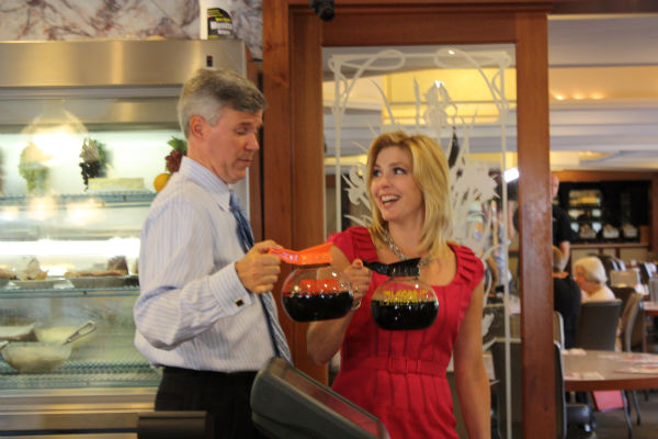 David Murphy and Karen Rogers get ready to serve up some coffee at the Country Squire Diner in Delaware County!  <span class=meta>(WPVI Photo)</span>