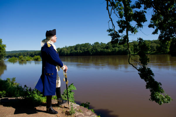George Washington gazes over the Delaware River...