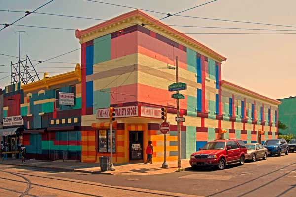 Philly Painting progress shot. Along Germantown Avenue in North Philadelphia, Dutch painters Haas &amp; Hahn work within the community to transform a stretch of the commercial corridor through large-scale murals on the fa?ade of local businesses.  <span class=meta>(Photo by Haas &amp; Hahn)</span>