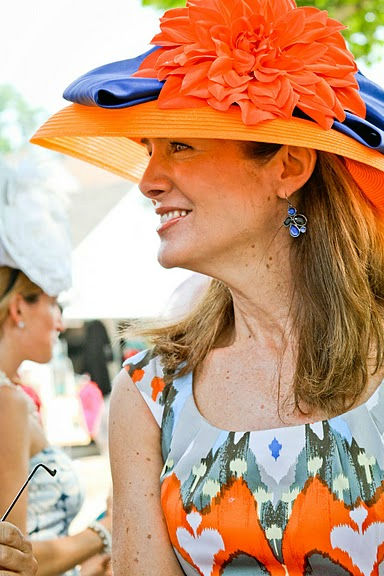"<div class=""meta image-caption""><div class=""origin-logo origin-image ""><span></span></div><span class=""caption-text"">Looking gorgeous at Devon in a coordinated orange and navy outfit was Main Line fashion maven Caroline O'Halloran. (WPVI Photo/ Photos Courtesy AroundMainLine.com and Betsy Barron Photography)</span></div>"