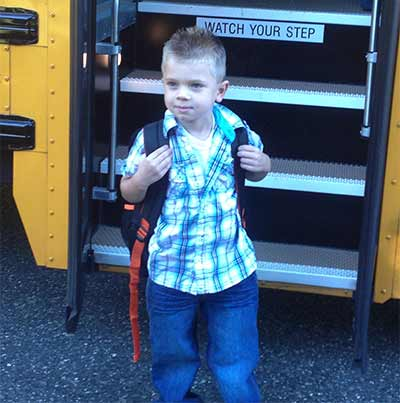 Ashton all set for his first day of kindergarten in Estelle Manor NJ.