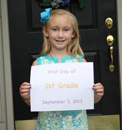 Ainsley's first day of school in Bucks County.