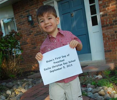 Blake's first day of preschool.