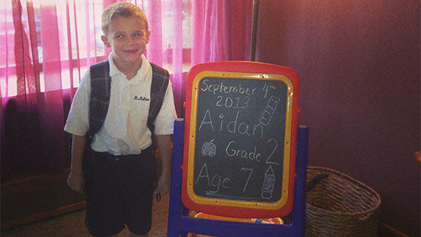 Aidan on his first day of second grade at St Matthews School in Mayfair!