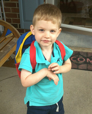 Zach's first day of preschool.