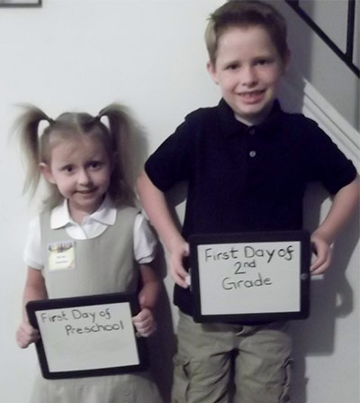 Dakota's 1st day of 2nd grade and Sophia's 1st day of Preschool!