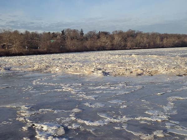 Pictured: The frozen Schuylkill River.  From Ike Richman.