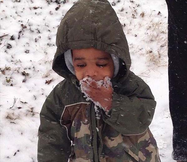 Christopher enjoying the snow in Mount Airy