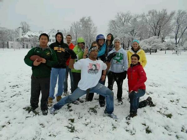 Fun in the snow at Delaware Valley College!