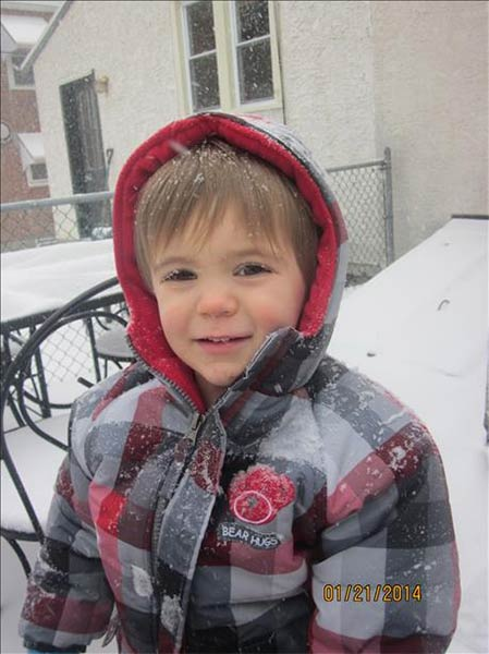 John Michael McGlynn is enjoying the snowfall in Conshohocken, Pa.