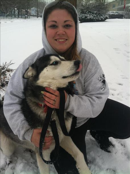 Vanna Baxter sent this picture of herself and Blaze in the snow.