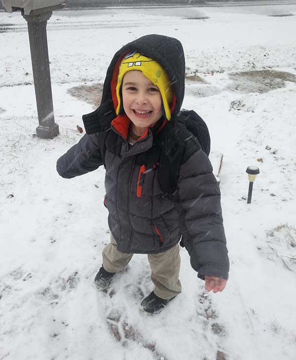 "Paul Barras (@pbarras724) sent us this photo of his 2-year-old hoping for ""snowman snow."""