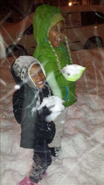 Miya and Skye having a snowball fight