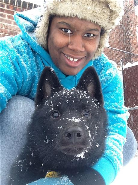 GiGi and Midnight: Snow fun in the Olney section.