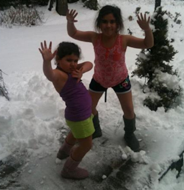 Submitted caption:   Danielle, Mollie and Amy are dreaming of those summer days!!!    Send your Snowtographs to 6abc.com!  CLICK HERE