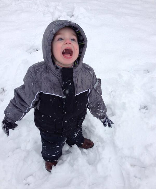 Caleb catching snowflakes in Pottstown, Pa.