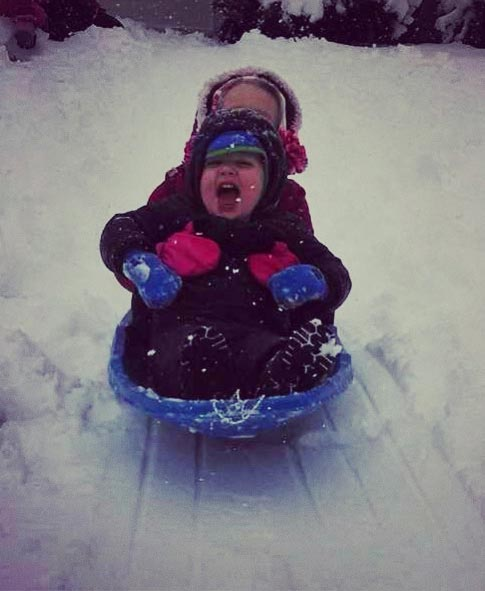 Parker and Jilli sledding.  Submitted by: Adrian