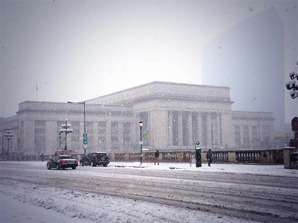 30th Street Station in the snow