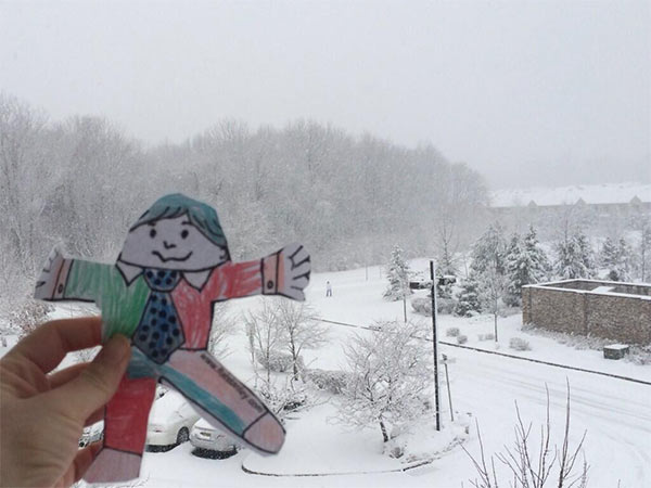 Flat Stanley enjoying another snow day in Princeton, N.J.