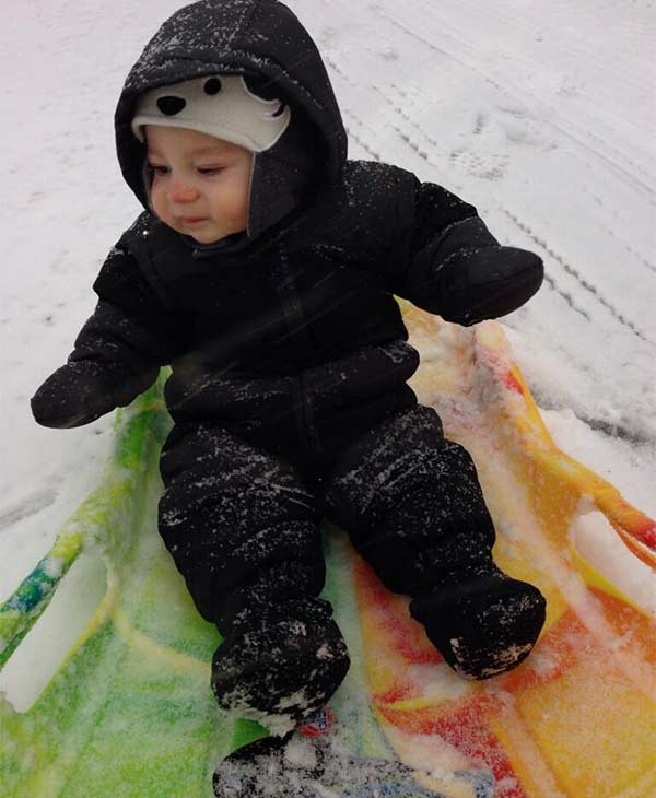 "Christine S. sent this photo, saying ""Perfect snow for sledding!"""