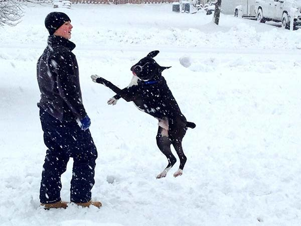 "Liv Bauer sent this photos, saying ""snow day with the pup."""