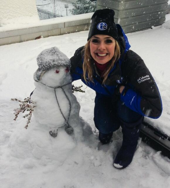 Action News' Karen Rogers and her snowwoman, April!